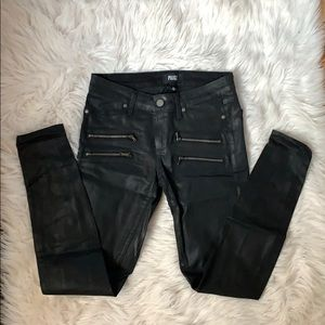 Paige shiny skinnies with zipper detail